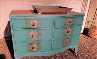 boho stenciling turns boring brown dresser into mystical shimmer