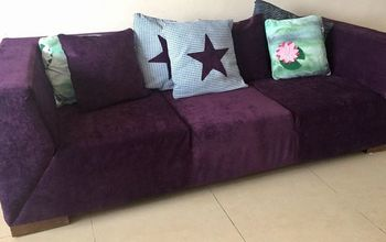 old gross couch gets a royal purple makeover