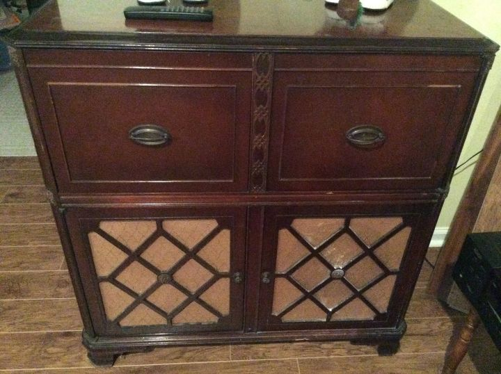 q how to make a bar from old stereo cabinet