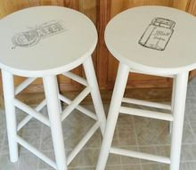shabby chic stools with image transfer