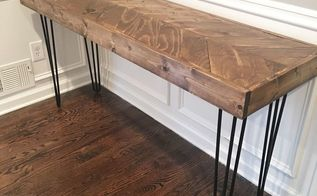 how to build a herringbone sofa table