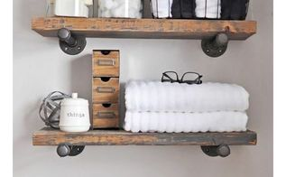 diy industrial shelves with towel rack