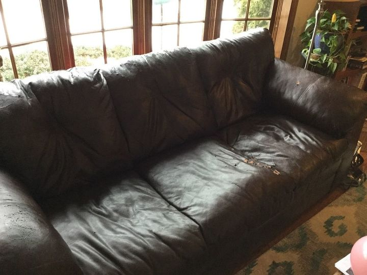 How To Reupholster Leather Sofa With Severe Ling Of