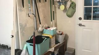 , Old mop storage Those turquoise and black bins will go on open shelves Got those at Hob Lob a little pricey but they ll last a long time