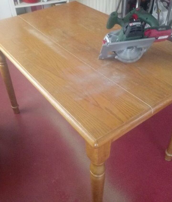 transforming a old kitchen table into a smart hallway table