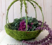 faux moss planter a thrift store upcycle