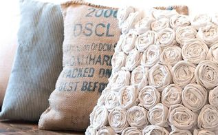 a beautiful rose pillow made from an inexpensive drop cloth