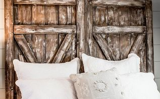 a farmhouse style barn door headboard