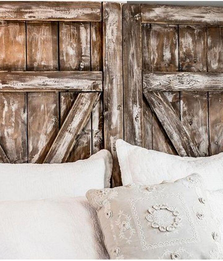 a farmhouse style barn door headboard