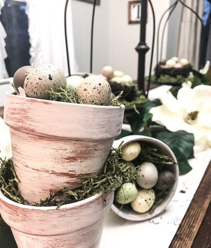 transform dollar store terra cotta pots into easter table decor