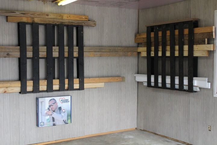 Pallets mounted on two walls