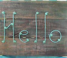 simple wood staining with food coloring, Aged copper patina Hello sign
