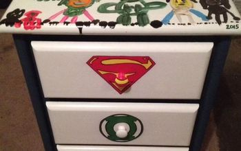 Our Son's Dresser and Night Table ... Splatters and Super Heroes!