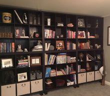 a wall of shelves using store bought shelf organizers