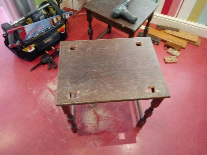 simple work bench from a nest of tables