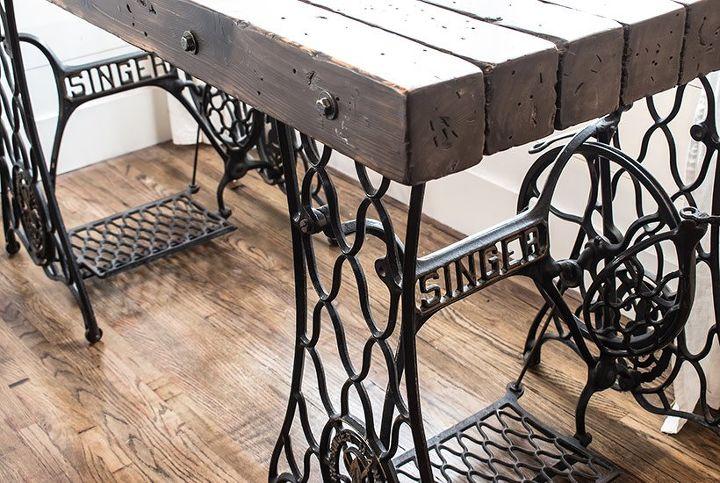 diy antique desk from vintage singer sewing machines
