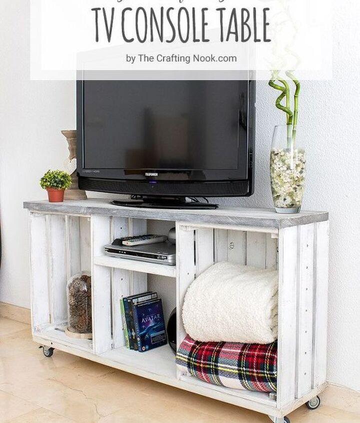 diy easy rustic tv console table