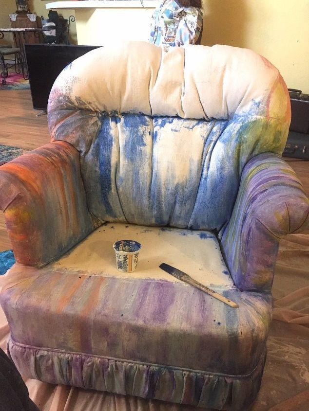 painted chair with unicorn spit