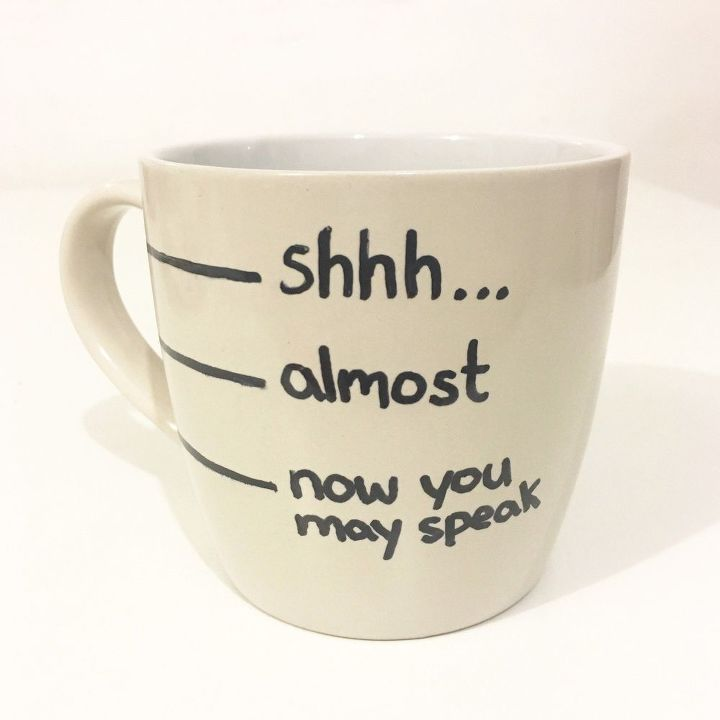 s check out these wonderful ways to decorate your plain mugs, Add a cute quote