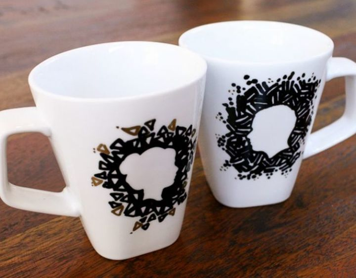 s check out these wonderful ways to decorate your plain mugs, Make silhouettes with a Sharpie