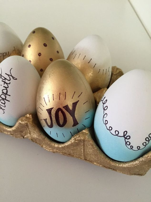 s quick easter egg ideas that are just too cute, Spray paint eggs for a sweet shimmery finish