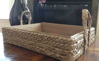 braided brown craft paper tray diy