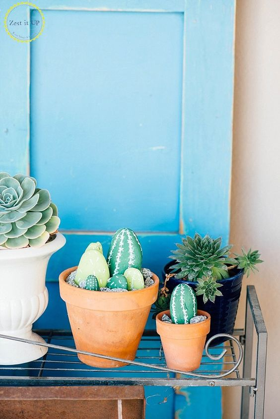 s 15 amazing craft projects that you can do under 15 minutes, Painted Cacti Rocks