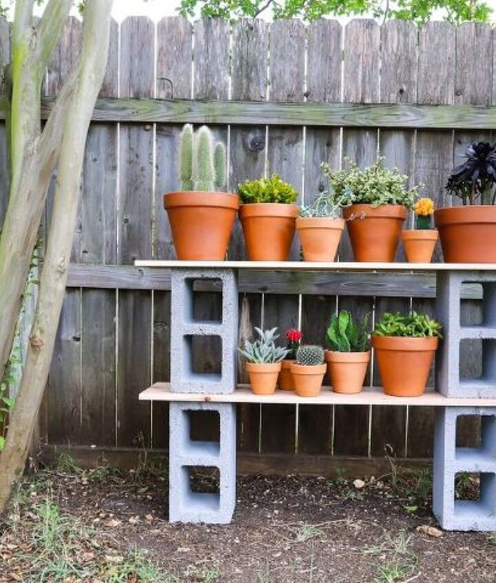 s upgrade your backyard with these 30 clever ideas, Arrange cinderblock plant shelves