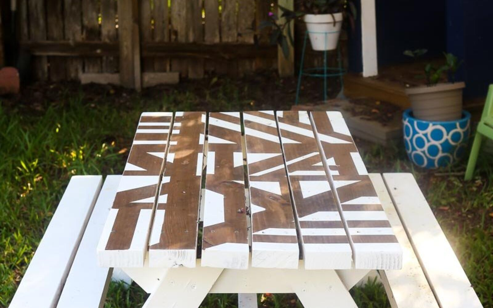 s upgrade your backyard with these 30 clever ideas, Paint a fun pattern on a picnic table