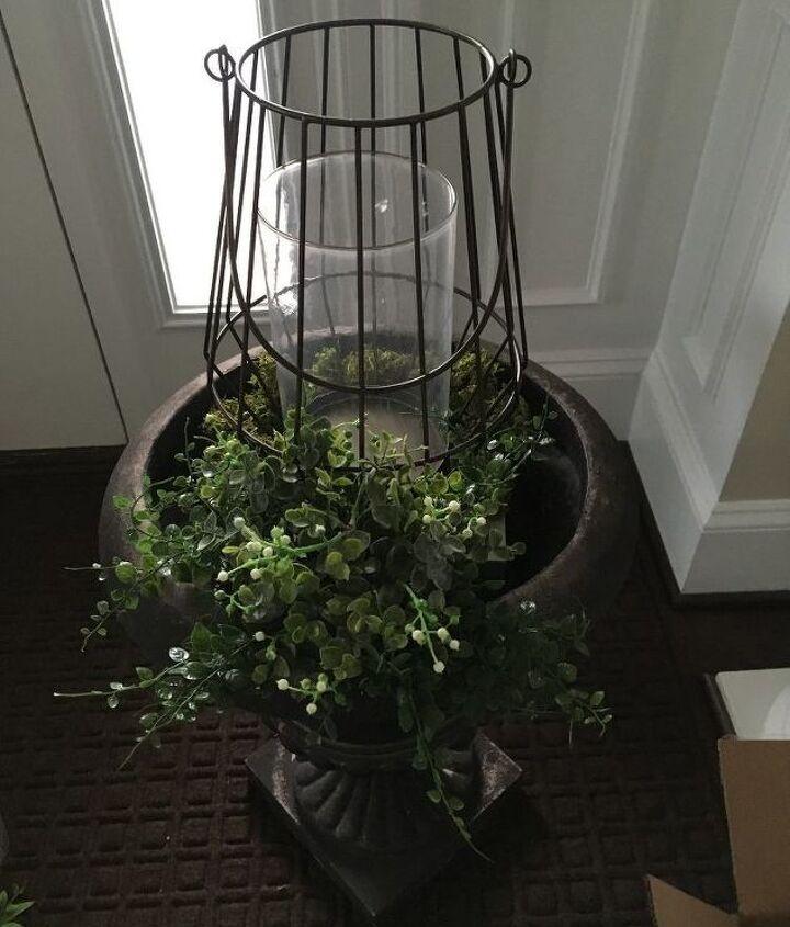 faux greenery and lantern urn filer