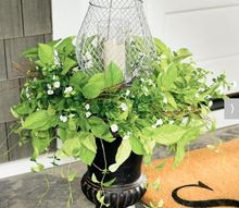 faux greenery and lantern urn filer