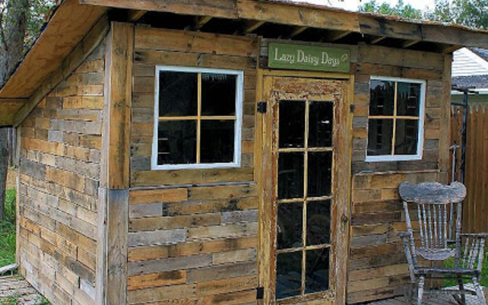 s upgrade your backyard with these 30 clever ideas, Assemble pallets and old windows into a shed