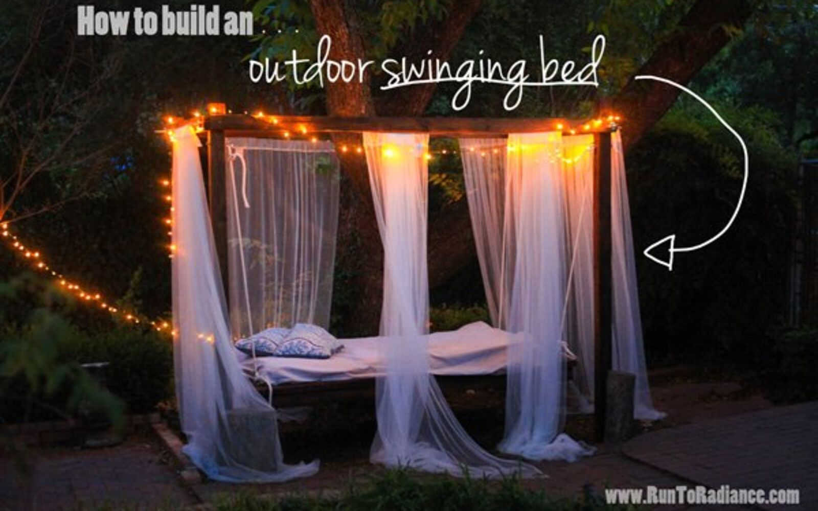 s upgrade your backyard with these 30 clever ideas, Hang a gorgeous swinging bed outdoors