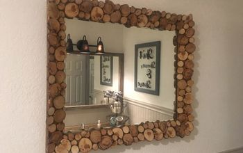 thrift store wood slice mirror makeover, Finished project