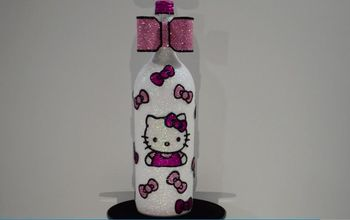 hello kitty wine bottle decor with a napkin