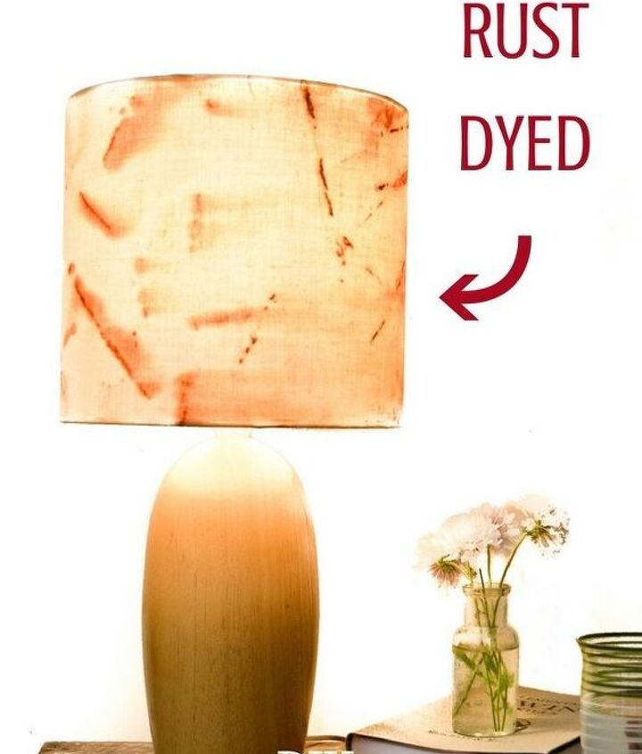rust dyed fabric lampshade