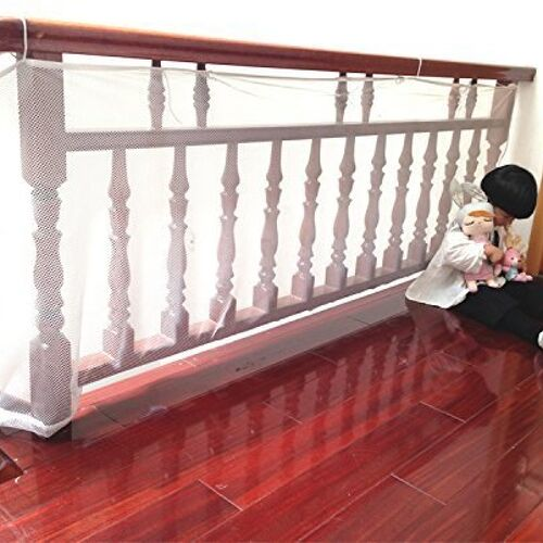 About the product What you get:6.56 feet long x 3 feet high, pearl color (white), indoor Safe Rail Safety rail net:Harmonic Lifewares 6.56ft long x 3ft wide weatherproof, see-through mesh prevents your child from peaking through the railing, throwing objects through the rail gaps. Save your floors and railings from falling objects and ensure a safe environment for everyone!