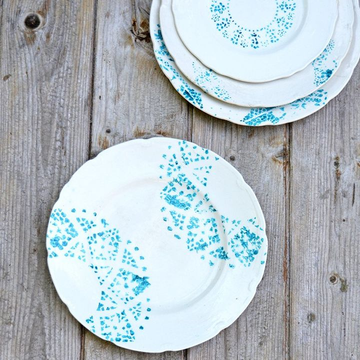 s update your plain dishes with these adorable ideas, Doily Stenciled Vintage Plates