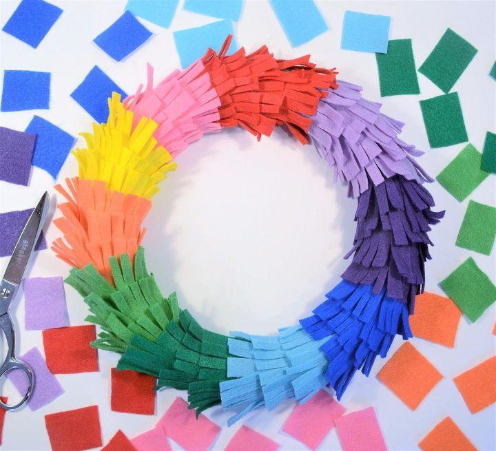s 15 easy colorful projects, Felt Rainbow Fringe Wreath