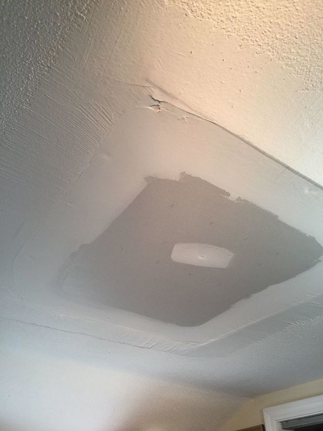 q best way to fix this 5 skylights removed all popcorn ceilings help