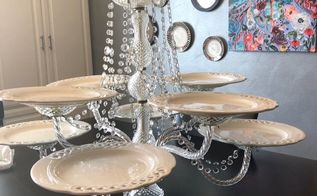 repurpose a chandelier into a serving piece