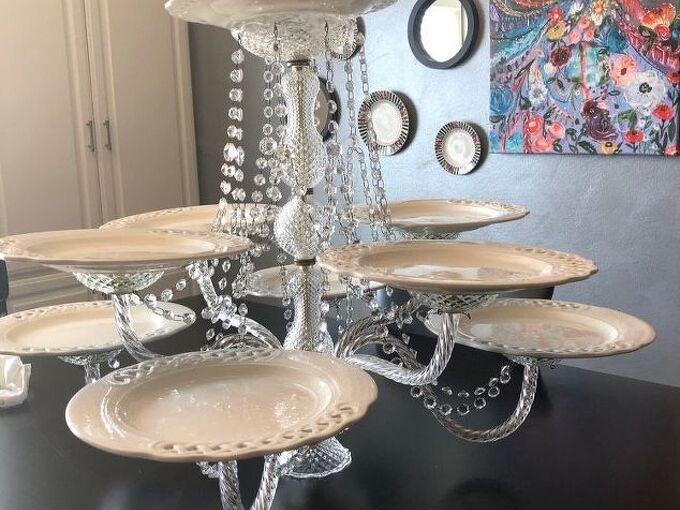 repurpose a chandelier into a serving piece