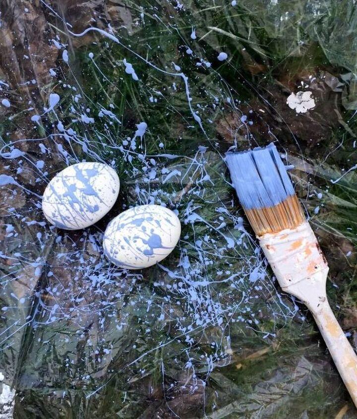 colorful paint splattered easter eggs