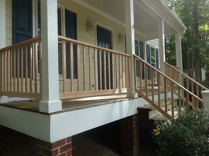 diy front porch railing replacement project, After