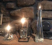 oil lamp from thrift store perfume bottle