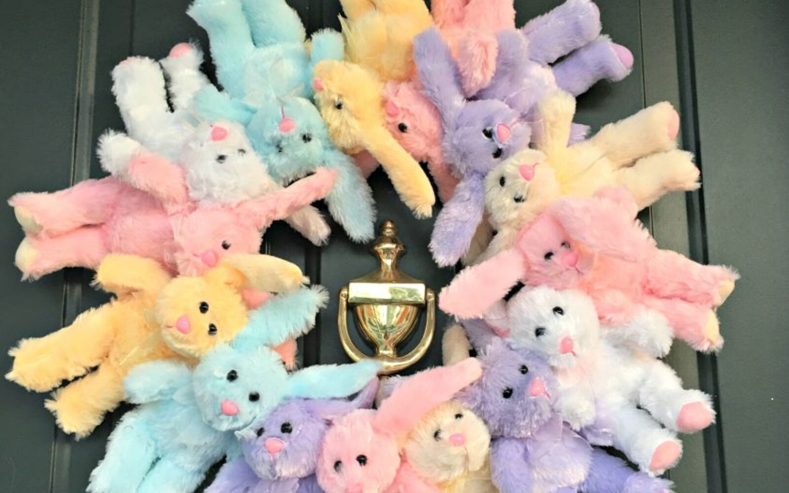 s the cutest ways to decorate your front porch for easter, Fluffy Bunny Wreath