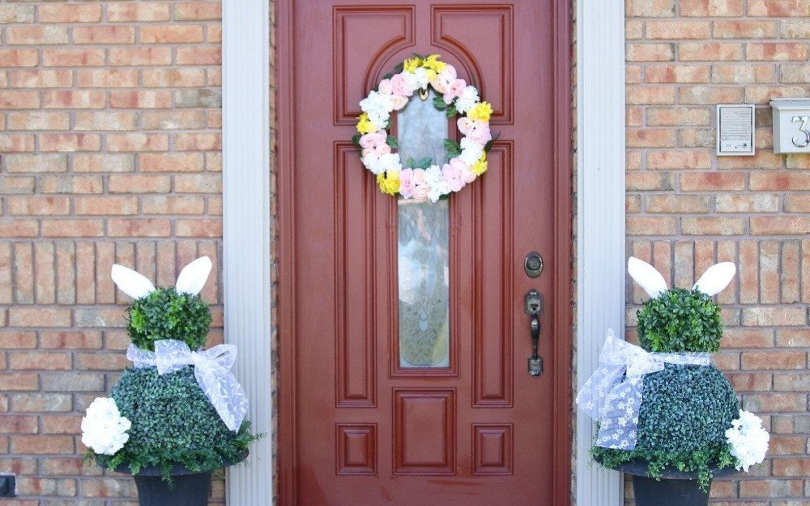 s the cutest ways to decorate your front porch for easter, Easy Bunny Topiaries