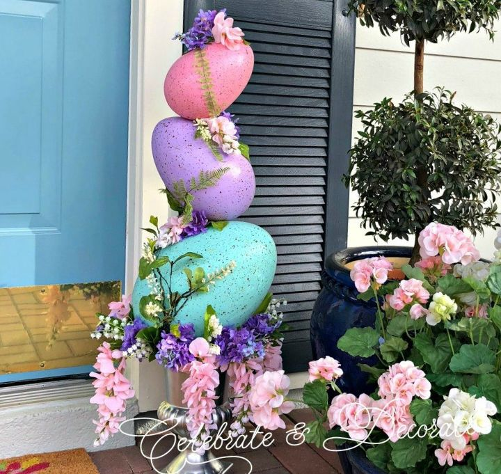 s the cutest ways to decorate your front porch for easter, Easter Egg Topiary