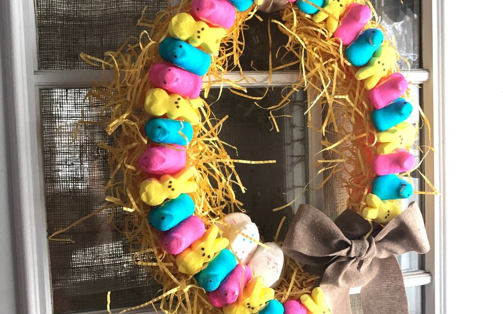 s the cutest ways to decorate your front porch for easter, Colorful Peeps Wreath