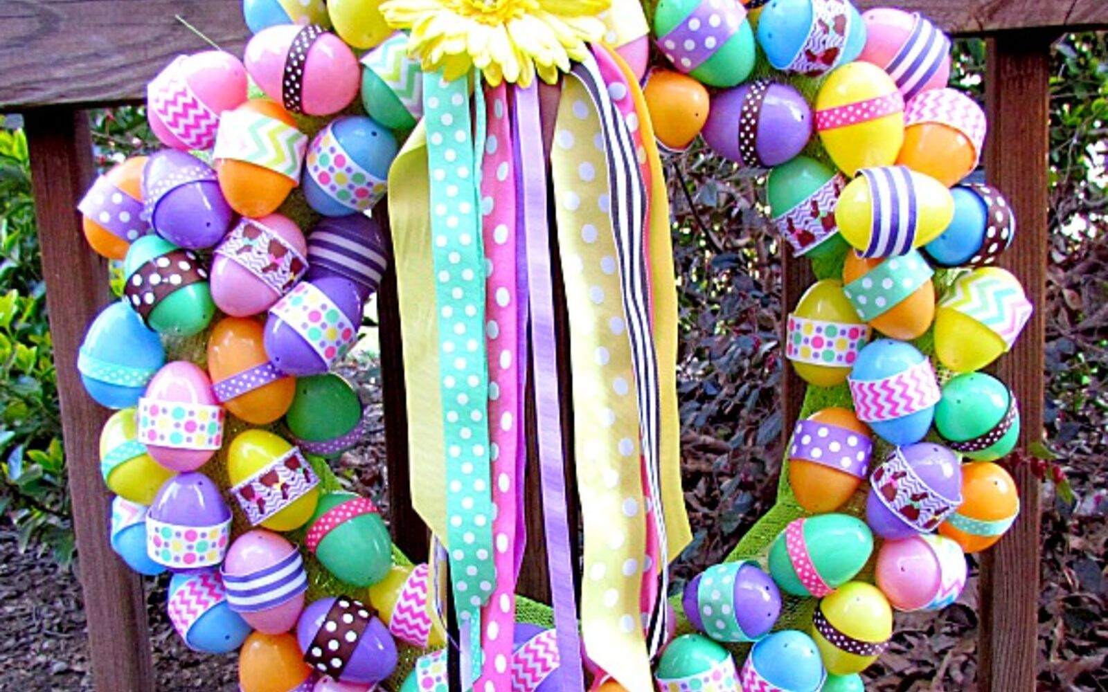 s the cutest ways to decorate your front porch for easter, Easter Ribbon Wreath